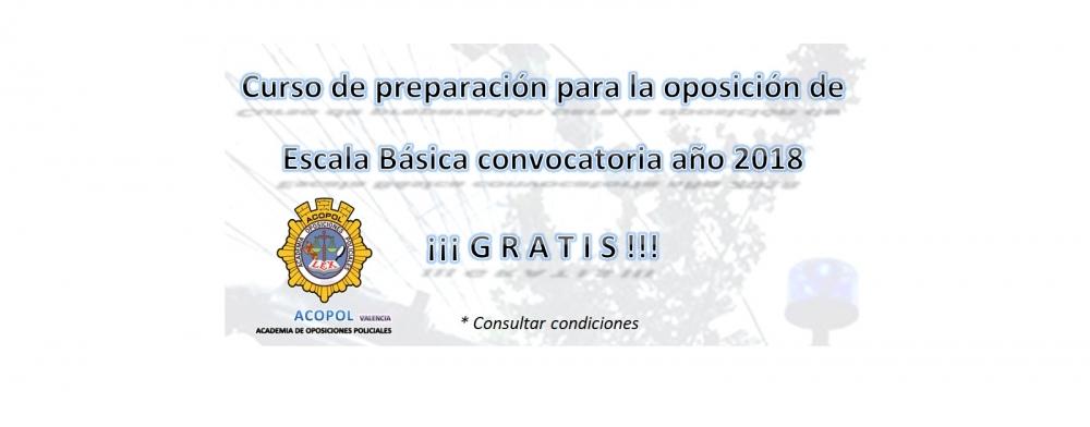 Oferta curso diario Escala Básica sede Valencia promoción 2018, ACOPOL