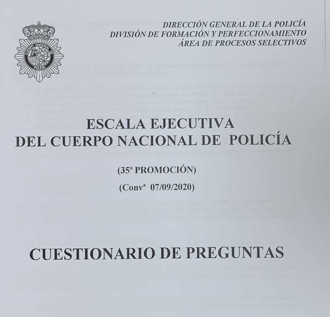 Examen Escala Ejecutiva Oposición Policía Nacional